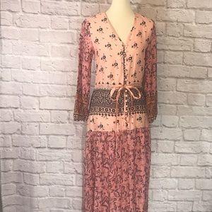 Pink/peach/black BoHo maxi dress size large